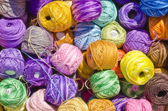 Cotton Thread Balls. Untangled colorful home collection Royalty Free Stock Photography