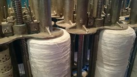 Cotton thread production. Machinery for producing cotton thread Stock Image