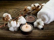 Cotton towel- spa concept stock photo