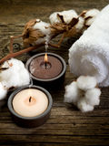 Cotton towel- spa concept stock photos
