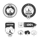 Cotton vintage vector logo, labels and badges set royalty free illustration