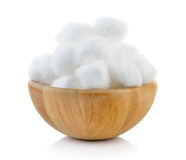 Cotton in the wood bowl Royalty Free Stock Photography