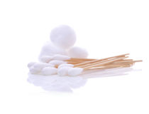 Cotton wool ,cotton bud a white background Royalty Free Stock Photo