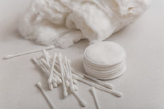 Cotton wool, cotton swabs and cotton disks. Stock Photography