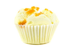 Cotton wool cup cake. On white background royalty free stock photos