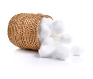 Cotton wool in samal basket on white background Royalty Free Stock Image