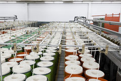 Cotton yarn manufacturing Stock Photo
