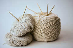 Cotton yarn with needles Royalty Free Stock Photography