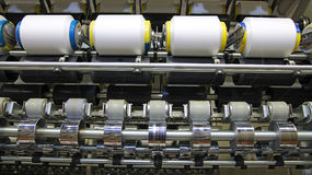 Cotton Yarn Production in a Textile Factory Stock Photos