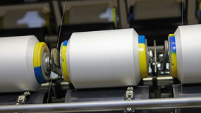 Cotton Yarn Production in a Textile Mill Stock Image
