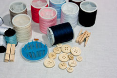 Cottons and buttons Royalty Free Stock Photography