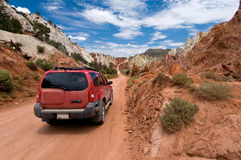 Cottonwood Canyon Road. SUV driving the Cottonwood Canyon Road in Grand Staircase Escalante National Park, Utah royalty free stock image