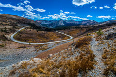 Cottonwood Pass Colorado. View of the road from the top of the Cottonwood Pass Continental Divide Colorado USA stock image