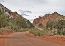 Cottonwood Road. Cottonwood Canyon Road in Grand Staircase National Monument Utah offers spectacular landscape views royalty free stock photo