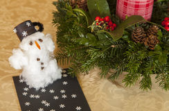 Cottonwool snowman on the table Royalty Free Stock Photo