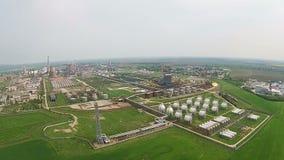 Cottura aerea della raffineria moderna stock footage