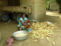 Cottura africana della donna Immagine Stock