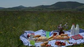 Cottura attraverso l'alimento di picnic video d archivio