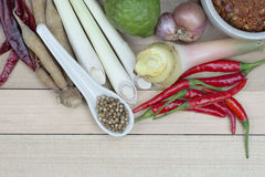 Cottura degli ingredienti, ingredienti di cottura tailandesi, piccanti Fotografia Stock