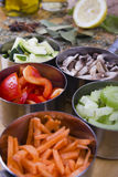 Cottura degli ingredienti. Verdure Fotografia Stock