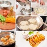 Cottura dei pancake del cereale Immagini Stock