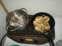 Cottura dei pesci Immagine Stock