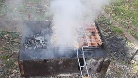 Cottura del barbecue sulla griglia archivi video