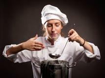 Cottura del cuoco unico della donna Immagine Stock Libera da Diritti