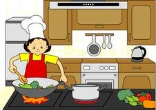 Cottura del cuoco unico della donna Fotografia Stock
