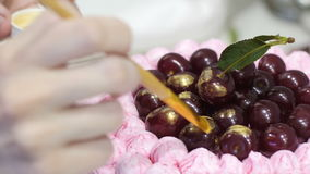 Cottura del dolce per una festa Cuocia il dolce per il compleanno Il cuoco prepara le pasticcerie Crema del dolce video d archivio