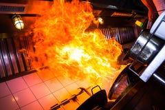 Cottura del fuoco dell'ustione Fotografie Stock