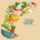 Cottura del infographics Insalata fresca Icona dettagliata di vettore Serie di alimento e bevanda ed ingredienti per cucinare Fotografie Stock