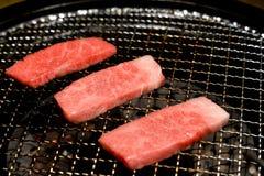 Cottura del manzo di Kobe Miyazaki Wagyu Immagini Stock Libere da Diritti
