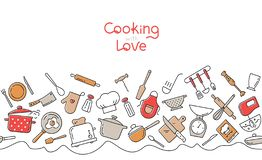 Cottura del modello senza cuciture orizzontale piano Struttura dell'utensile della cucina e del fumetto degli apparecchi illustrazione vettoriale