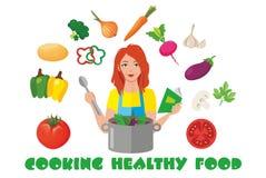 Cottura dell'alimento sano illustrazione di stock
