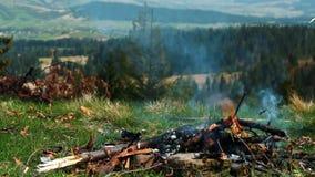 Cottura dell'alimento sul camino di campeggio Pezzi di lardo della carne di maiale che grigliano sul falò stock footage