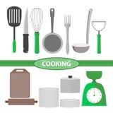 Cottura dell'illustrazione piana di vettore dell'insieme di strumenti della cucina Fotografie Stock