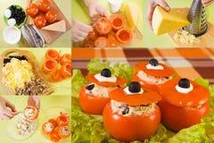 Cottura dell'insalata del pomodoro farcito Fotografia Stock Libera da Diritti