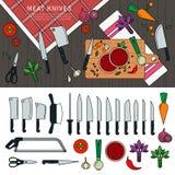 Cottura della carne con i coltelli Immagini Stock Libere da Diritti
