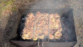 Cottura della carne su un barbecue stock footage