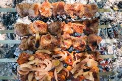 Cottura della carne sul fuoco fotografia stock libera da diritti