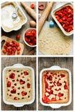 Cottura della torta della fragola di estate Fotografia Stock