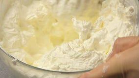 Cottura della torta di formaggio stock footage