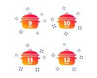 Cottura delle icone della pentola Punto di ebollizione nove, dodici minuti Vettore illustrazione vettoriale