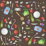 Cottura differente ed alimento di opzioni di vettore della cucina creativa del flat pack Fotografia Stock Libera da Diritti
