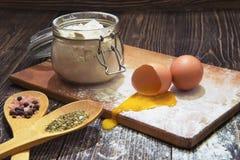 Cottura e componenti con le spezie aromatiche esotiche Fotografia Stock Libera da Diritti