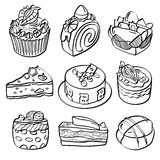 Cottura e raccolta del dessert illustrazione di stock