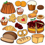 Cottura ed insieme dell'icona dei dolci Immagini Stock Libere da Diritti