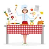 Cottura femminile del cuoco unico Fotografie Stock Libere da Diritti