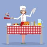 Cottura femminile del cuoco unico Fotografie Stock